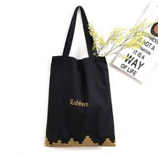 Fashion Cabbeen Black Cotton Large Tote Shopper Shoulder School Bag