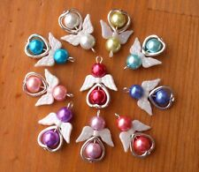 10 Angel Charms Pendant Metal Heart Pearl Beads White Wings Xmas Tree Decoration
