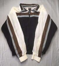 Countess Mara New York Nylon Windbreaker Jacket, Black,Brown, & White, Extra Lar