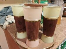 SET OF VINTAGE TIKI GLASSES MULTI-COLORED MAHOGANY