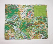 Indian Handmade Paisley Printed Kantha Quilt Twin Size Blanket Cotton Bedspread@