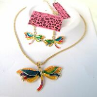 Betsey Johnson Colorful enamel Pretty Dragonfly Necklace earring set#256T