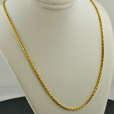 14K YELLOW GOLD OVER .925 STERLING SILVER CLASSIC ROPE CHAIN 18 INCH NECKLACE