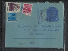 INDIA COVER (P2612B)  1971 25 AEROGRAM UPRATED  3 STAMPS TO OSOYOOS, BC,CANADA
