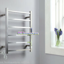 Bath Electric Heated Towel Rail Rack Warmer Stainless Steel 6 bars Square Chrome