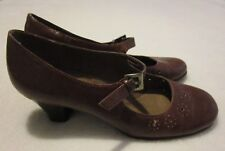 "Aerosoles ""Caricature"" Brown Faux Leather Mary Jane Heels - Size 7 M"