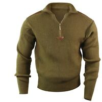 MILITARY ARMY MARINES NAVY STYLE COMMANDO SWEATER ZIPPER Olive Black S To 3XL