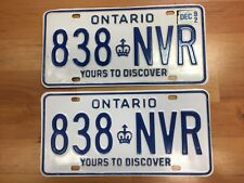 1992 PAIR OF ONTARIO LICENSE PLATES 838 NVR IN GREAT CONDITION