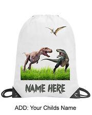 Personalised T Rex Dinosaur School Gym Swimming PE Nursery Drawstring Bag