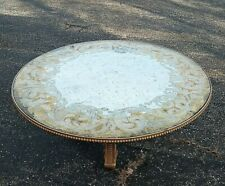 "Vtg Eglomise Cocktail Coffee Table 42"" x 16"" Carved Wooden Base Shabby Hollywood"
