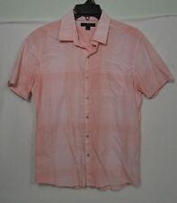 Marc Anthony Pink Stripe/Checkered Short Sleeve Dress Shirt Size L Large