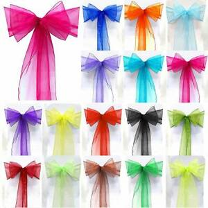 10-100Pcs Organza Chair Covers Bow Sash Wedding Party Banquet Colorful Decor 6