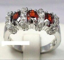 BRAND NEW - 10K White Gold Filled Red Garnet Ring - size 8