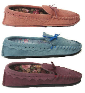 LADIES MOCASSIN STYLE GENUINE SUEDE INDOOR SLIPPER WITH TEXTILE LINING BOW TRIM
