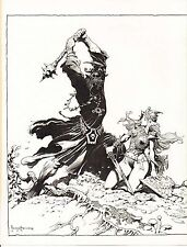 "1977 Full Color Plate ""Lord Of The Rings Scene"" by Frank Frazetta Fantastic GGA"