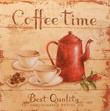 """"""" Coffee Time """" - Cafe Bistro Shabby Vintage Chic Kitchen Picture Plaque Art"""