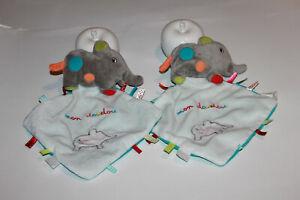 MON DOUDOU NICOTOY ELEPHANT GRIS MOUCHOIR BLANC BLEU LOT DE 2