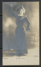 Early 20th c Anna Held in sailor-type jacket & tricorn hat sepia real photo pc