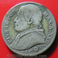 1867 VATICAN 2 LIRE SILVER ROME MINT PIUS IX PAPAL ITALIAN STATES COIN 27mm
