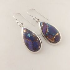 925 Sterling Solid Silver Jewelry Purple Copper Turquoise Gemstone Earrings Pair