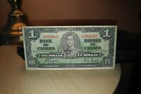 1937 $1 Dollar Bank of Canada Banknote ON9904947