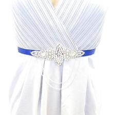 Royal Blue Silver Chain Diamante Belt 1920s Flapper Dress Great Gatsby Vtg 1822