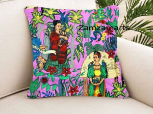 """Indian Pink Frida Kahlo Printed Cotton Cushion 24""""x24"""" Home Décor Pillow Cover"""