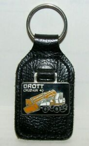 Case Drott Cruz Air 40 Excavator Leather & Enamel Key Chain Ring Fob England