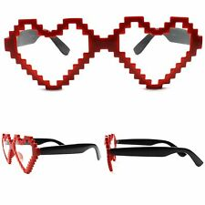 Costume Womens Style Novelty Red Vintage Retro Heart Shaped Pixel Sunglasses