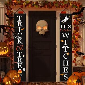 Halloween Party Treat Or Trick Porch Door Hanging Couplet Banner Decorations UK