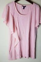 Long Tall Sally Women Blush Pink Short Sleeve Side Ruffle Shirt Top Size M