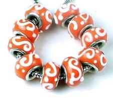 Lampwork Handmade Glass Fit Charm Bracelet Orange Spiral (8)