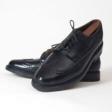 Vtg Florsheim Kenmoor Longwing Wingtip Oxford Black Shoes No V-Cleat Or 5 Nail 9