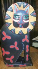 Laurel Burch Large Feline Cat Kitty Sculpture Wood Statue Very Rare