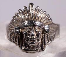 Feather Dressed Native American Head Ring Sterling Silver Size 8.25