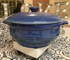Longaberger Pottery Cornflower Blue Rd Casserole 2.5 Quart Lid Baking Dish Nib