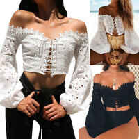 Women Off Shoulder Bandage Top Long Sleeve Hollow Lace Loose Blouse Tops T-Shirt