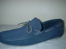 LONDON BROGUES NAVY BLUE LEATHER NUBUCK SLIP ON LOAFER DRIVERS SHOES SIZE 11/45