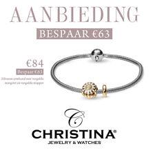 Aanbieding Christina zilveren armband vergulde margriet en een vergulde stopper