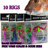 10 Snapper Snatchers Rig Fishing Rigs Lure Bait Jig Line 60lb Leader Hook 5/0