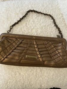 Isabella Fiore  Leather Handbag W Chain Strap clutch Pre-owned