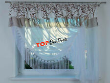 Amazing Voile Net Curtain with Lace & Beige Top Left Right Side Modern Novelty