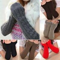 Knitted Fingerless Gloves Half Finger Glove Thumb Hole Wrist Hand Warmer Winter