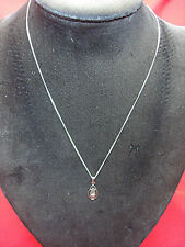 VINTAGE STERLING CHAIN & PENDANT W/ACCENT DIAMOND