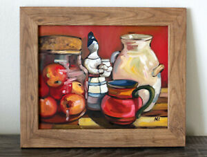 Original Painting Oil on Canvas panel Still Life with Apples Figurine & Pottery