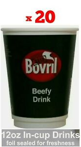20x BOVRIL DRINKS 12oz in CUP 2GO Catering/Camping/Workplace (Pack of 20 cups