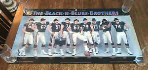 1985 Chicago Bears Black N Blues Brothers Poster Super Bowl XX Offensive Line