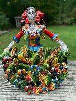 La Bailarina Catrina Dancer Talavera Painted Statue Mexican 7x5x2.5 Rainbow R7