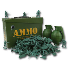 KIDS CHILDRENS ARMY TOY SOLDIER PLAY SET AMMO TIN BOX GRENADE ARMY MEN