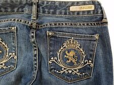 Express Jeans STELLA Stretch Sz. 6 Distressed Boot Cut Embroidered Lion 31X32